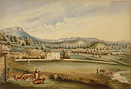 An early Watercolour of Westbury Looking Towards Quamby Bluff by Sarah Fogg